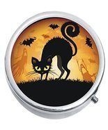 Black Cat Bats Halloween Medicine Vitamin Compact Pill Box - £7.78 GBP