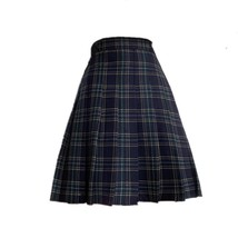 Lady Classic Wine Red Plaid Skirt Plus Size Pleated Plaid Skirt Christmas Outfit image 8