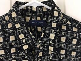 Van Heusen Shirt Short Sleeve Button Front Casual Collared Black Tan Geo... - $8.86