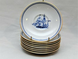 SPODE TRADE WINDS BLUE TEA CUP SAUCERS - FREE SHIPPING - $39.60