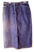 Cherokee Dark Blue Jean Denim Mid Calf Skirt Sz 14 - $28.49