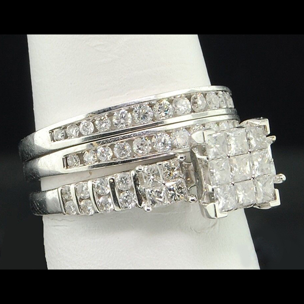 Princess Cut Diamond Engagement Ring Set White Gold Plated 925 Sterling Silver
