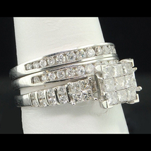 Princess Cut Diamond Engagement Ring Set White Gold Plated 925 Sterling ... - $130.25