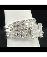 Princess Cut Diamond Engagement Ring Set White Gold Plated 925 Sterling ... - $112.02