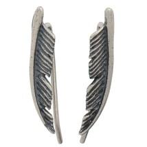 1 Pair Silver Feather Ear Climber Earrings Set Cuffs Pins Ear Lobe Crawler - $39.60