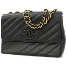CHANEL Chain Shoulder Bag Caviar Leather Black Coco France Authentic 484... - $2,322.15