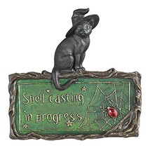 Design Toscano Black Cat Sign - Witch's Cat Spell-Casting Wall Sculpture... - €24,61 EUR