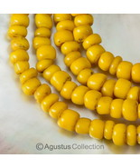 "Rare Antique Yellow Tribal Trade Glass Bead Strand 23.74"" Western-Papua ... - $38.75"