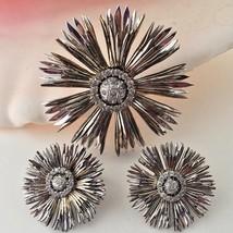 1950s Rhinestone Nettie Rosenstein Sunburst Earrings Brooch Set Sterling... - $297.00