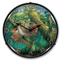 Fishing The Wood Largemouth Bass By Mark Susinno Lighted Wall Clock - $129.95