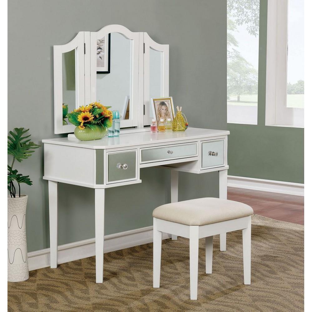 hopton girls bedroom 3 piece set vanity trifold mirror