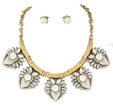 Ivory Faux Pearl Fashion Statement Necklace Earring Set - $25.60