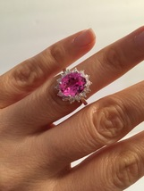 Royal Engagement Ring, 12x10mm Center Stone Oval Pink Topaz  - $195.00+