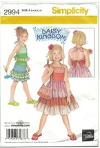 Simplicity 2994 Daisy Kingdom Halter Dress, Top, Skirt Pattern Size 3 4 5 6 7 8 - $8.81