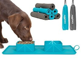 EasyPets 'RollaBowl' Travel Portable Roll Up Double Dog Bowls and Pet Feeding Ma