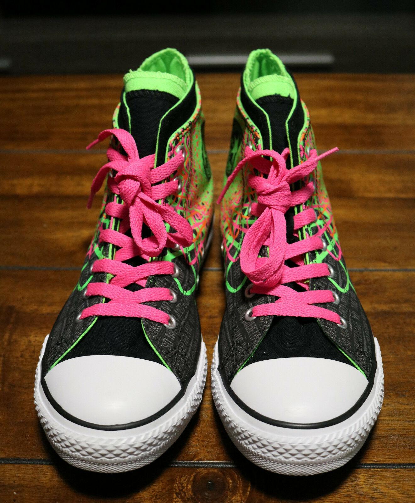 Converse Chuck Taylor All Star Zipback 649963C Black Pink Green Shoes Girls Sz 5 image 4