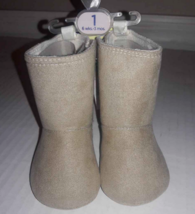 Baby Girl Tan Beige Faux Suede Bootie Boots Size 1 - 6 weeks to 3 mos Ne... - £5.17 GBP