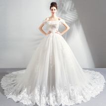 Newly Off Shoulder White Embroidery Beaded Organza Wedding Dress Pricess... - $160.33