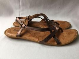 BORN Valmar Thong Comfortable Sandals Shoes Metallic Bronze Brown Leathe... - $39.59