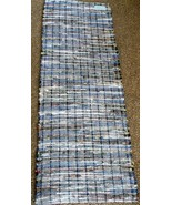 "Multi Colored Dark Flannel Woven Rag Rug Hand Loomed 57"" x 22"" New USA M... - $50.49"