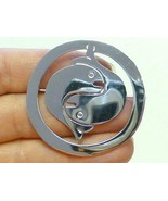 Double Fish Yin Yang  Mexico Sterling Silver Pin Brooch Necklace MINT Sh... - $39.59