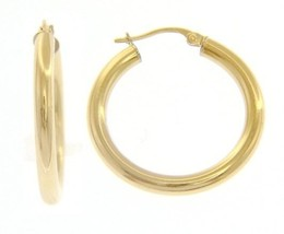 18K YELLOW GOLD ROUND CIRCLE EARRINGS DIAMETER 20 MM, WIDTH 3 MM, MADE IN ITALY image 1
