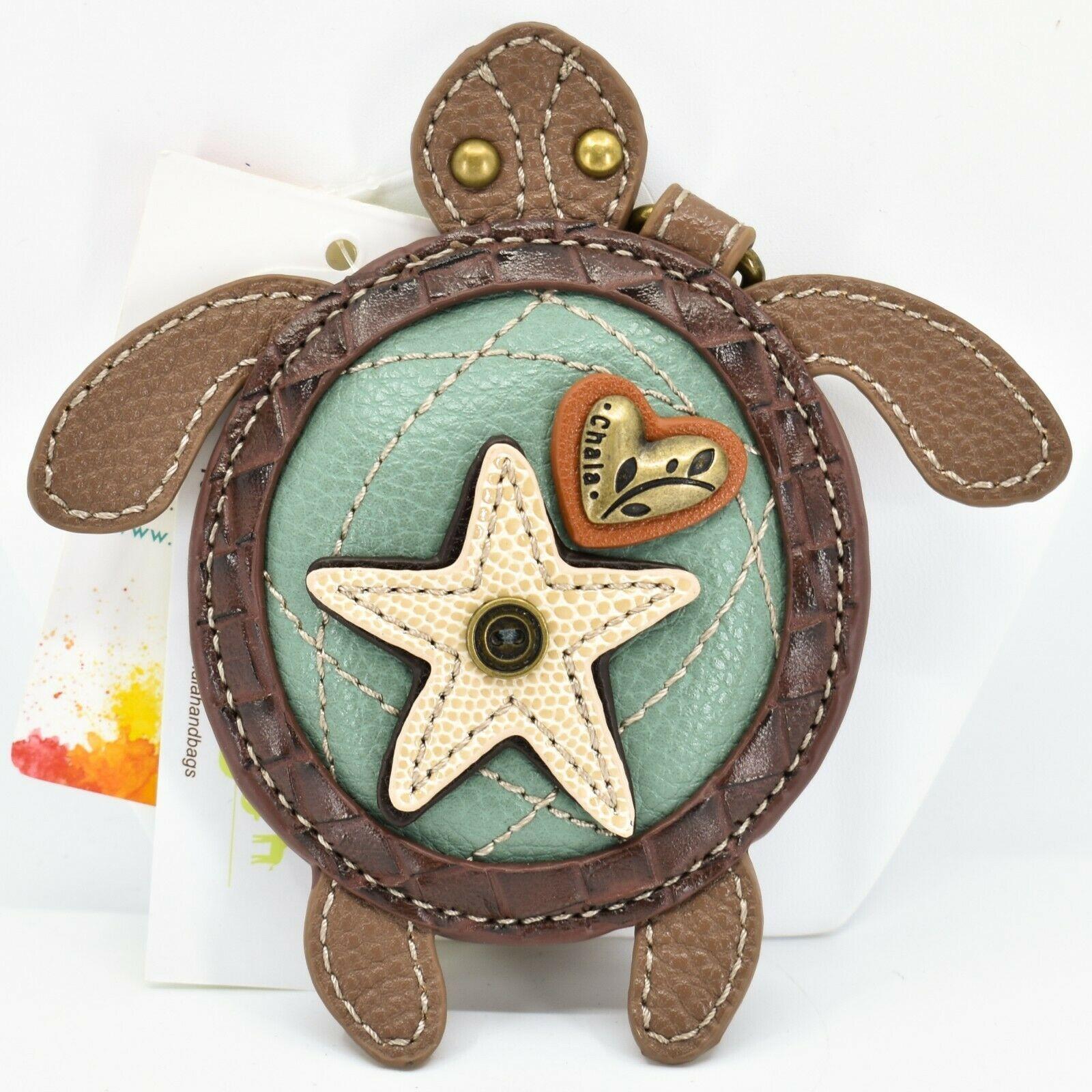 Chala Handbags Faux Leather Whimsical Sea Turtle Coin Purse Key Chain Keychain