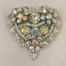 Juliana Aurora Borealis Heart Tiered Brooch - $64.99