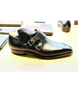 Men's handmade genuine leather double monk strap formal dress shoes. - $155.19+