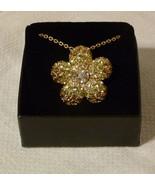 Nolan Miller Designer Gold-tone Pave' Flower Pin Brooch Pendant Necklace - $39.98