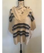 AMERICAN EAGLE Women's Poncho Sweater, Hood, Beige Black N Gray Striped,... - $0.98