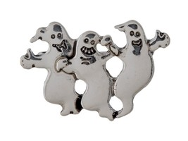 Burnished Silvertone Three Ghosts Halloween Pin & Brooch - $8.95