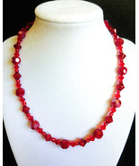 """17"""" red swarovski crystal and glass bead necklace - $70.00"""