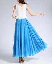 Women Long MAXI Chiffon Skirt AQUA-BLUE Chiffon Maxi Skirt Summer Wedding Skirt image 2