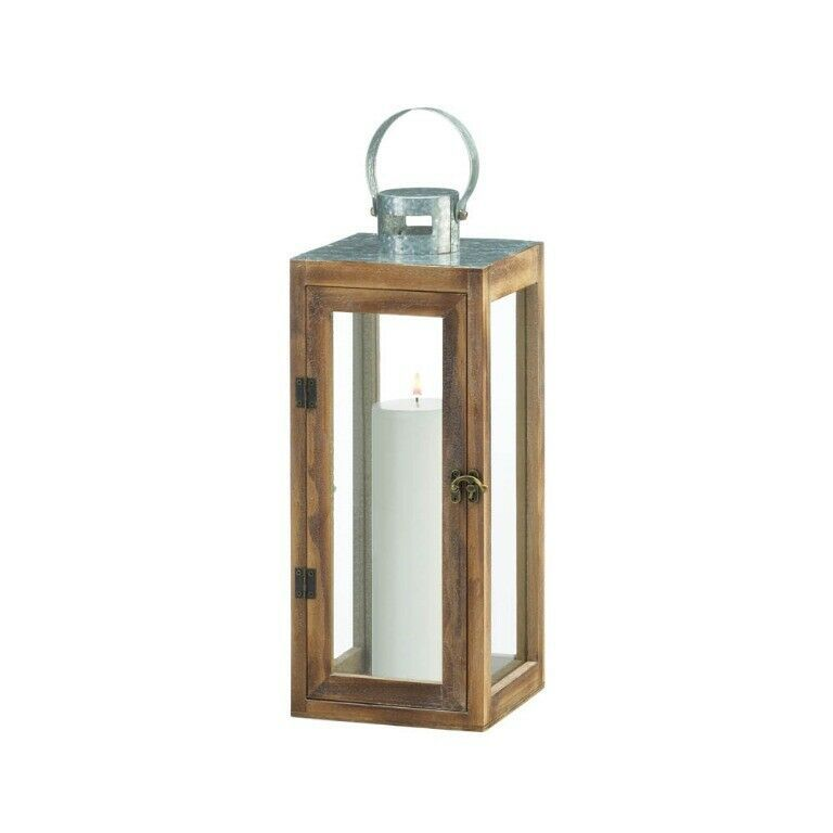 Lot of 4 Square Wooden Candle Lanterns w/ Galvanized Metal Top, Glass Panes