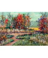 Original Acrylic Aceo Painting Okla Autumn Landscape #1  ~Artist P. Conyers - $5.00