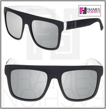 GUCCI GG1116S Square Matte Black Rubber White Silver Mirrored Sunglasses... - $341.55