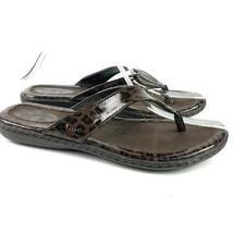 BORN B.O.C. Flat Thong Sandals Womens 8 US/ EUR 39 Brown Animal Print  - $21.35