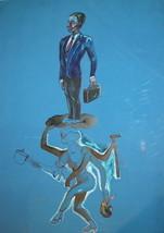 Surrealist gouache/ink pencil drawing portrait figures - $148.50