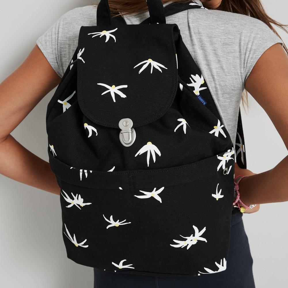 Baggu Recycled Canvas Drawstring Flap Black Floral Sack Backpack  image 2