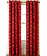 "Royal Velvet Plaza Embroidery Grommet Panel Dra Palmetto Red 50 X 84"" Curtains  - $24.50"