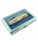 Vintage Cruise Ship D10 Silver Metal Cigarette Case RFID Protection Wallet - $10.84