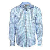 Men's Checkered Plaid Dress Shirt - Light Blue, Large (16-16.5) Neck 32/33 Sleev