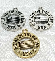 LAND OF THE FREE HOME OF THE BRAVE USA FINE PEWTER PENDANT CHARM 19x22x2mm image 1