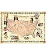 Native American Indian Tribes Map History Poster Territory Tribal Spirit... - $12.87+