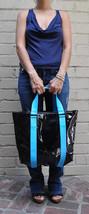 Marc By Marc Jacobs Shiny Designer Handbags Shoulder Bag Purse Tote Black Blue S - $26.73