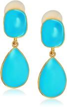 Kenneth Jay Lane Gold Turquoise Enamel Drop Earrings - $63.83