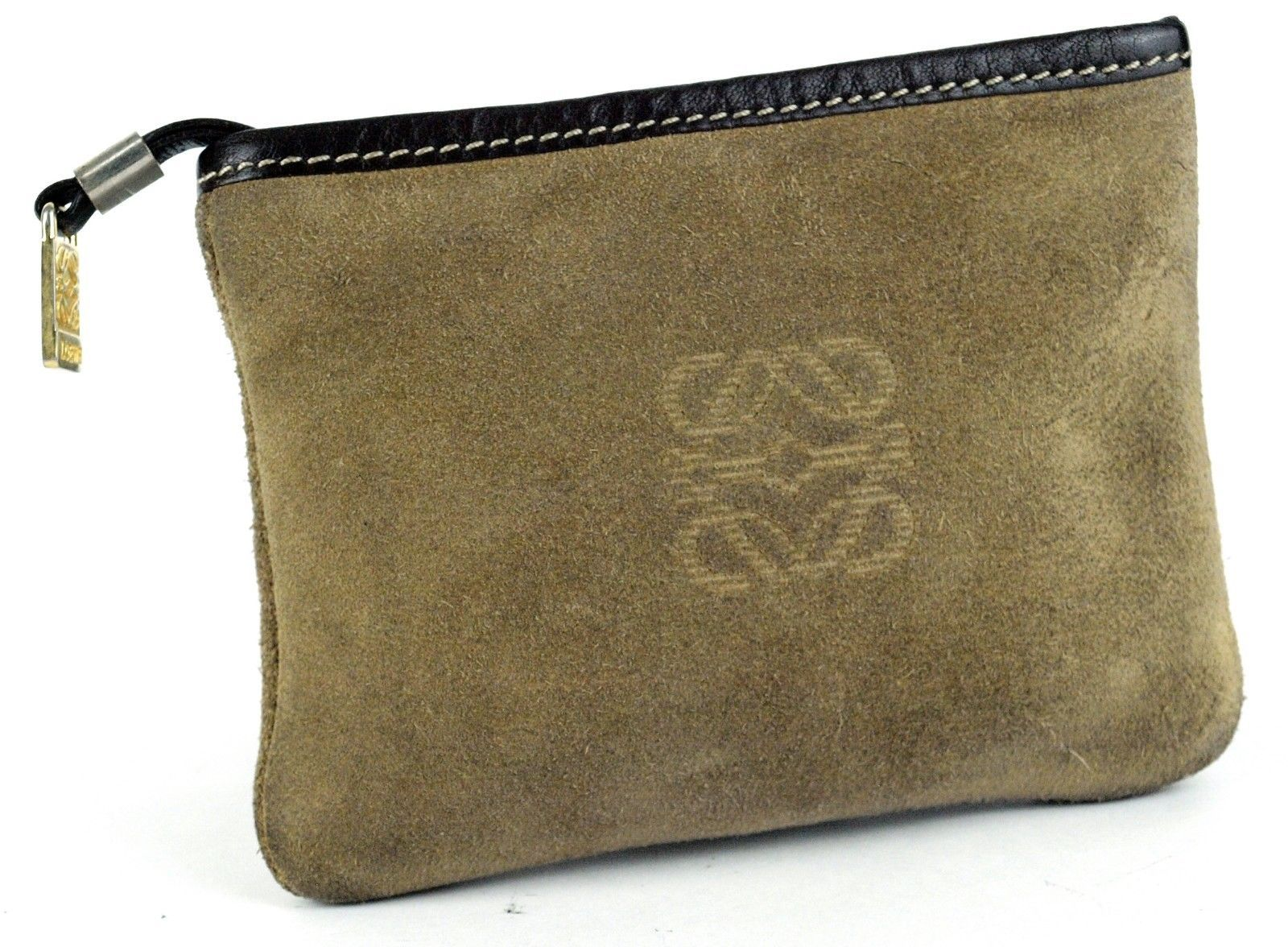 Primary image for LOEWE Yellow-Brown Suede Leather Mini Accessory Pouch / Bag accessory pocket