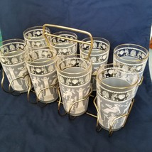 8 Vintage Jeanette Roman Wedgwood Blue & White Glasses with carrier - $15.79