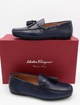 NIB Salvatore Ferragamo Navy Blue Simone Leather Tassel Drivers Loafers 7.5 40.5 - $325.00